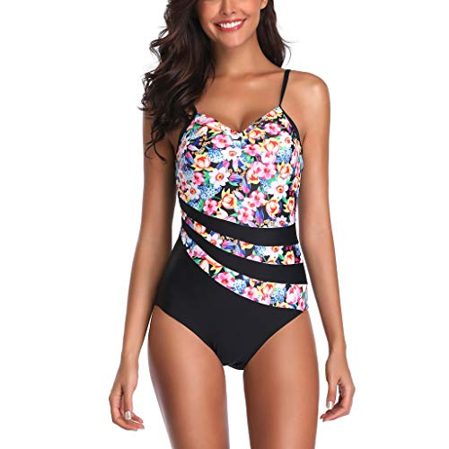 Bra Stripe Underwired (QBQCBB Women Siamese Bikini Set Push Up Stripe Swimwear Tummy Control Swimsuit(Pink,XXXL))