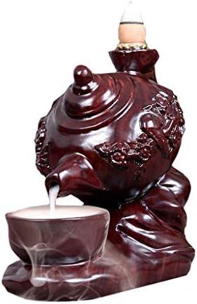 香炉 お香バーナー ウッド彫ティーポット香炉シンプルなギフト装飾アロマプレートの香炉スティックホルダー絶妙ホーム 家の装飾 (Color : A)