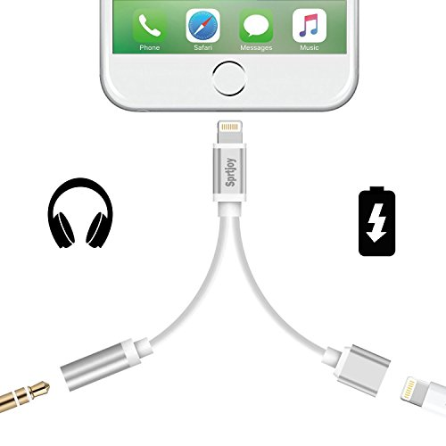 2 in 1 Lightning iPhone 7/ 8 Adapter & Splitter, Sprtjoy Lightning Adapter and Charger, Lightning to 3.5mm Aux Headphone Jack Audio Adapter for iphone 7 / 8 plus / X (Silver)
