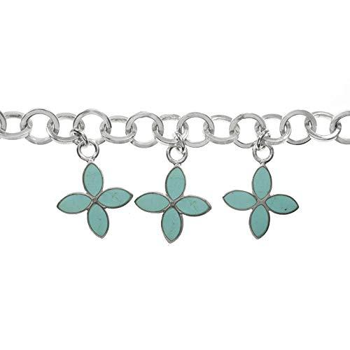 Pulsera con flores colgantes de turquesa y Plata de Ley 925