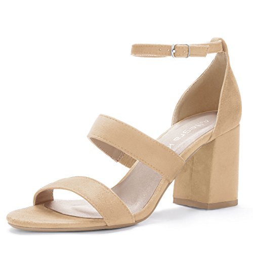 Allegra K Women's Triple Straps Block Heel Sandals Light Yellow EO8e7s