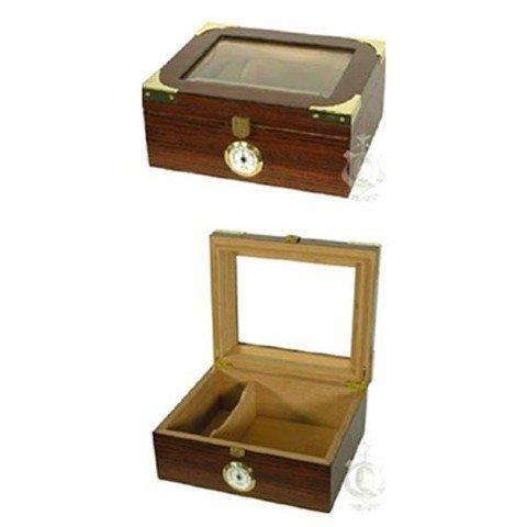 Elegant Oak Glass Top Humidor W/Brass Detail & Accessory - Oak Package