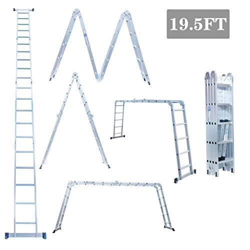 19.5ft Ex-Large Heavy Duty Gaint Aluminum Multi Purpose Folding Ladder Scaffold Ladders with 2 Free Platform Plates- 330Lbs ()