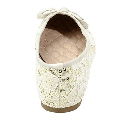 Il Suo Balletto In Pizzo Floreale Slnicklenna Realizzato Artigianalmente Da Donna Ha Un Elegante Fiocco Beige