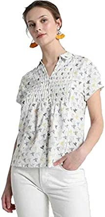 Size 8-18 New White Stuff Ami Bird print Cotton Blouse
