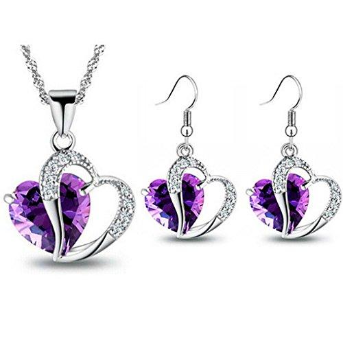 Set Earrings 18kgp Pendant (fonk: 18KGP Heart rhinestones Pendant Necklace Earrings set 80172)