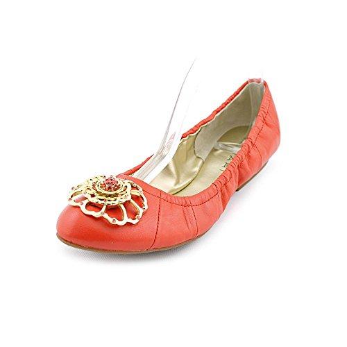 Tahari Vanna Womens Size 5.5 Orange Leather Ballet Flats Shoes