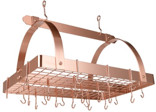Satin Steel Hanging Pot Rack (Old Dutch Rectangular Hanging Pot Rack with Grid & 24 Hooks, Satin Copper, 30