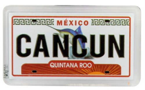 "Price comparison product image Cancun Mexico License Plate Fridge Small Acrylic Collector's Souvenir Magnet 2"" X 1.25"""