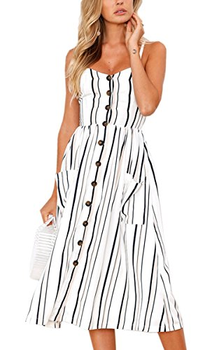 Angashion Women's Dresses-Summer Floral Bohemian Spaghetti Strap Button Down Swing Midi Dress with Pockets White Striped S