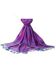 Aivtalk Women's Vintage Paisley Jacquard Pashmina Scarf Wrap Stole - Purple