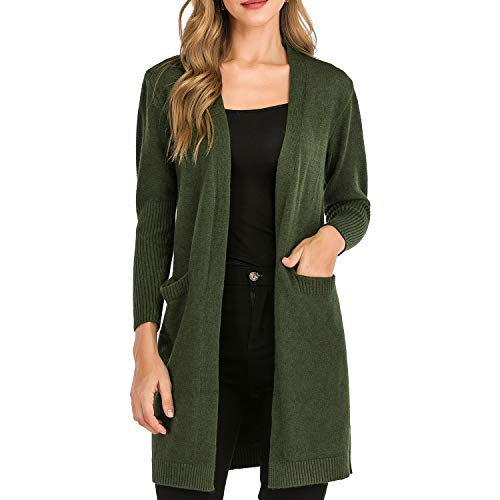 BIG ELEPHANT Cardigan Sweaters for Women, Lightweight, Fall, Open Front, Soft, with Pockets (Green, XL)