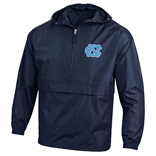 (Champion NCAA Men's Half Zip Front Pocket Packable Jacket North Carolina Tar Heels)