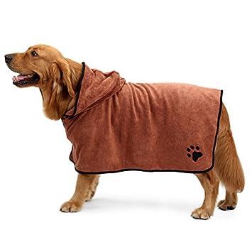Jiedoasi Albornoz para Perros Ropa de Perro Caliente Absorbente para Mascotas Toalla de Secado Bordado Pata Gato Capucha para Mascotas Toalla de baño (Color ...