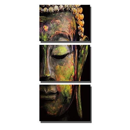 Hi-fun 3 Pieces Modern Buddha Head Wall Art Canvas Painting Buddha Artwork for Living Room Yoga Room (14x20inchx3pcs) ()