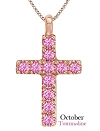 Cross Pendant Necklace In 14k Rose Gold Over Sterling Silver