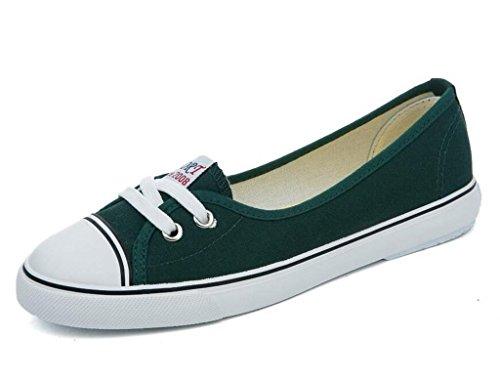 XIE Señora Zapatos Poco Profunda Boca Set pies Zapatos de Lona Cómodo Movimiento Ocio Estudiantes Cómodo Cuatro Colores, 1.003cm*0.356cm, 38 GREEN-36