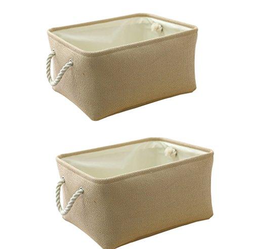 (TheWarmHome Decorative Storage Bins|Storage Boxes for Shelves| Fabric Storage Bin for Cloth Storage(Beige, 2)