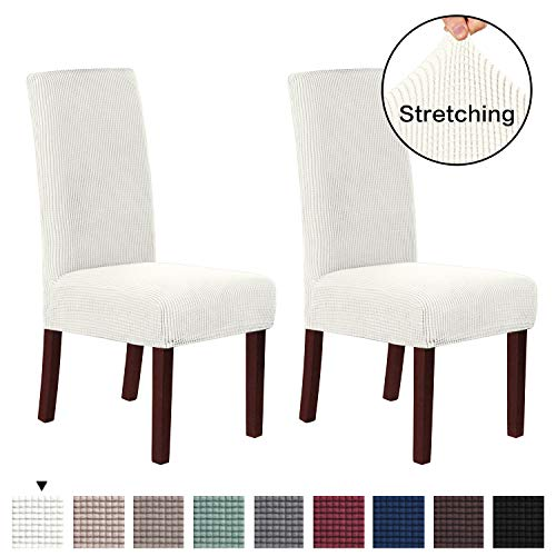 H.VERSAILTEX Super Fit Soft Spandex High Back Dining Chair Covers (Set of 2) Rich Textured Lycra Small Checks Knitted Jacquard Dining Room Chair Seat Slipcover/Protector/Shield, Ivory White