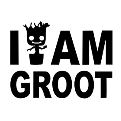 "Signage Cafe I Am Groot, Vinyl Decal - for Windows, Cars, Trucks, Tool Boxes, Lunch Boxes, laptops and Tablets (Black, 4""): Automotive"