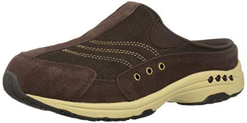 Easy Spirit Women's Traveltime Clog, Dk Brown, 11 M US (Brown Velcro Casual Shoe)