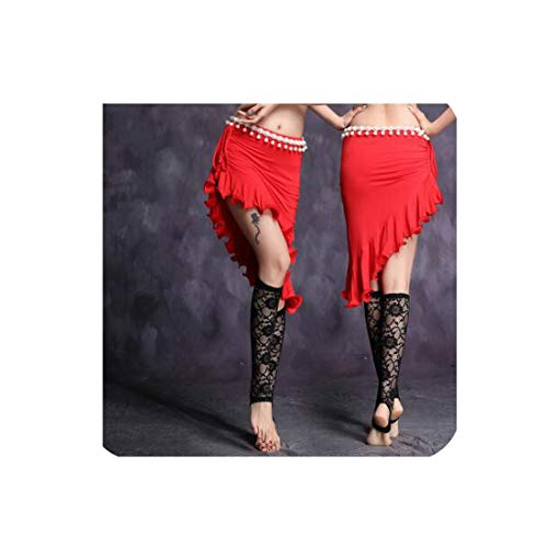 Belly Dance Costume Bellydance Pratice Clothing Skirt 6Colors Top&Skirt,Red,XL -