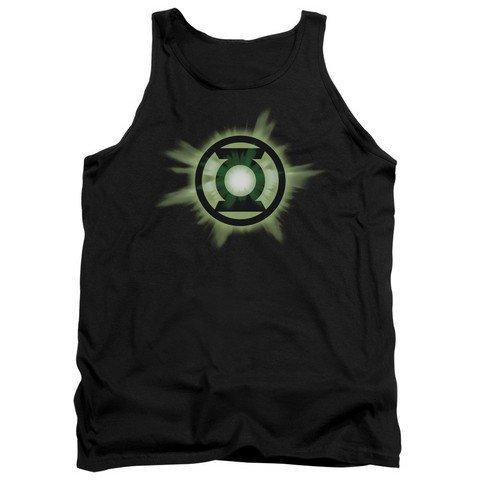 Trevco Green Lantern-Green Glow Adult Tank Top44; Black Small