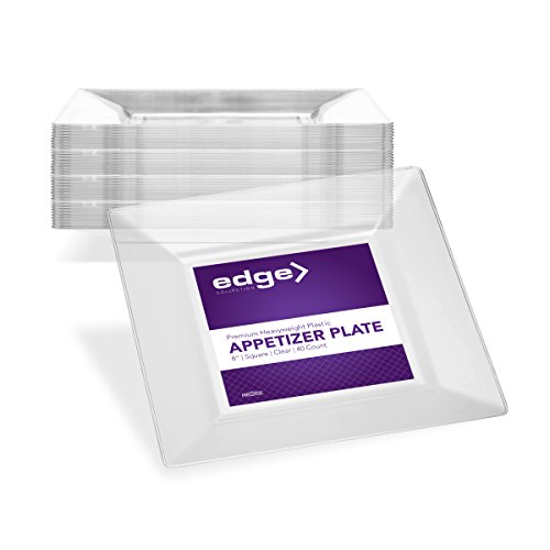 EDGE CLEAR PLASTIC PARTY DISPOSABLE PLATES | 8 Inch Hard Square Wedding Appetizer Plates, 40 Ct | Elegant & Fancy Heavy Duty Hard Party Supplies Salad Plates for Holidays & Occasions ()