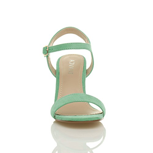 High Green Women Barely There Heel Suede Shoes Ajvani Sandals Mint Size 5pSznw5x