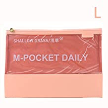 Genuine Leather Visible Document File Bag (L-Pink)