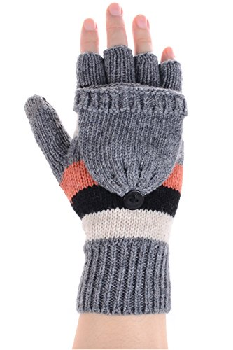 BYOS Women Winter Warm Cute Wool Blend Fingerless Flip Over Knit Convertible Gloves with Flip Over Mitten Cover Glittens in Solid Color & Colorblock, Great for Texting Touchscreen Devices (Gray/Coral) by Be Your Own Style