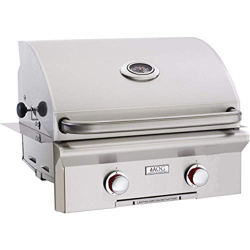 (AOG American Outdoor Grill T-Series 24-Inch 2-Burner Built-in Propane Gas Grill - 24PBT-00SP)