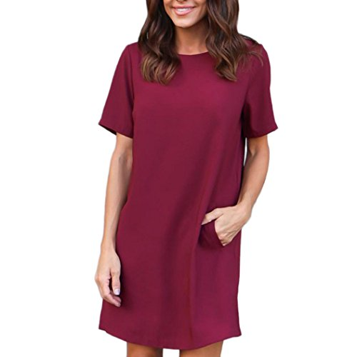 HOT Sale,AIMTOPPY Women's casual solid color short sleeve pocket mini dress (L, Wine Red)