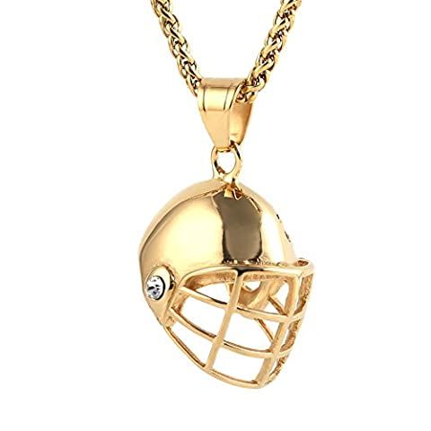 HZMAN Men Sport Jewelry Stainless Steel Cool Ice Hockey Helmet Pendant Necklace (Ice Jewelry For Men)
