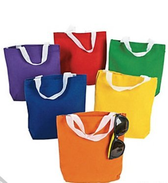 Canvas Tote Bags Primary Colors