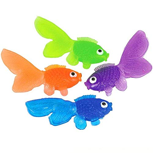(Coscn Plastic Vinyl Goldfish - Pack of 144 Assorted Neon Color Educational Toy - Enhance Hand and Bath Soaps, Fish Bowls and Tank, Aquarium Decorations, Party Accessory, Home Ornament and)