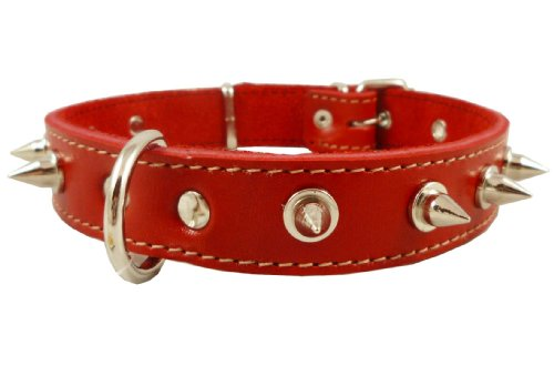 "Dogs My Love Real Leather Red Spiked Dog Collar Spikes, 1"" Wide. Fits 14""-17"" Neck, Medium Breeds"