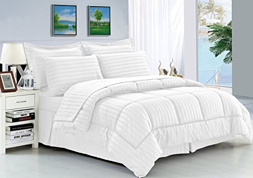 Elegant Comfort Wrinkle Resistant   Silky Soft Dobby Stripe Bed In A Bag  8 Piece Comforter Set   HypoAllergenic   King White