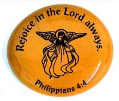 Rejoice In The Lord Always. Philippians 4:4 (Angel Pictured) Colored Glass Imprinted Christian Scripture Stones