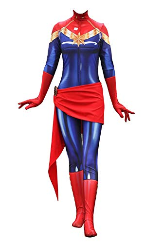 Texmex Cosplay Lady Captain Suit Halloween Costume Spandex Bodysuit Zentai S]()