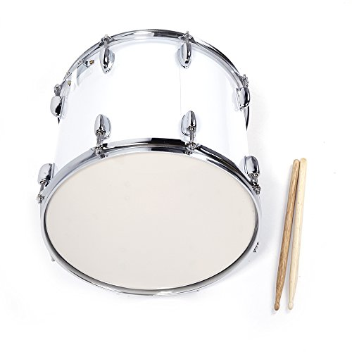 Festnight Snare Drum Kit 14″ x 10″ Professional Marching Snare Drum with Drum Stick Carrying Strap and Wrench Kit White