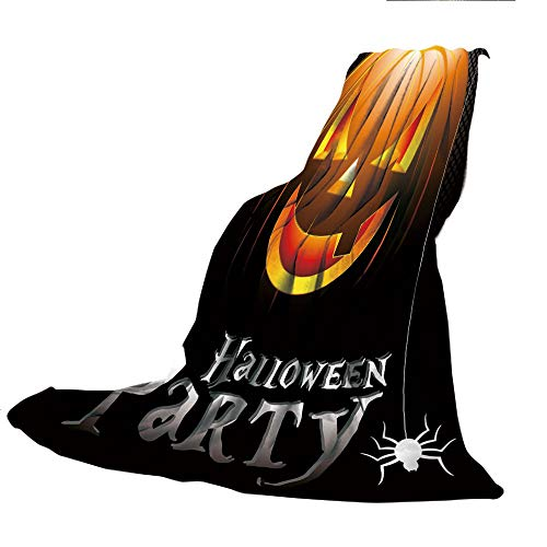 SCOCICI Super-Thick Flannel Warm Sofa or Bed Blanket,Halloween,Halloween Party Theme Scary Pumpkin on Abstract Modern Backdrop Spider Decorative,Silver Black Orange,39.37