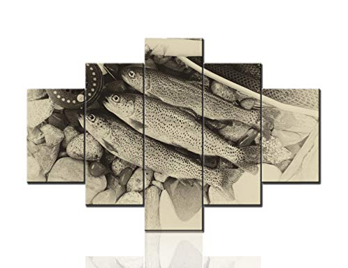 Artwork for Walls Fish Rod and Reel Pictures Fishing Sport Paintings Living Room House Decor Giclee Multi Panel Retro Prints Wall Art on Canvas Stretched and Framed Ready to Hang(60''W x 40''H)
