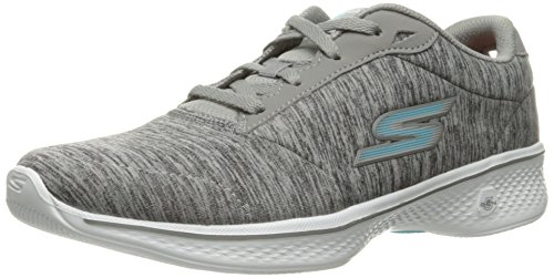 Skechers Performance Damen Go Walk 4 Lace-Up Wanderschuhe Grau / Blau Heather
