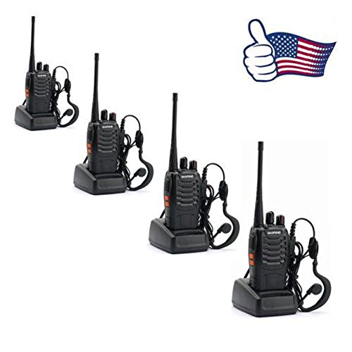 Walkie Two Way Talkie Radio 400-470MHz 3-6 Mile Talk Range Set 4 Pack