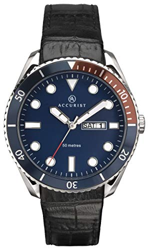 Accurist Mens Analogue Quartz Watch with Blue Dial and Black Leather Strap 7225