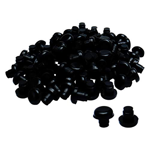 uxcell 100pcs 8mm Black Stem Bumpers Glide, Patio Outdoor Furniture Glass Table Top Anti-collision Embedded (Stem Bumper)