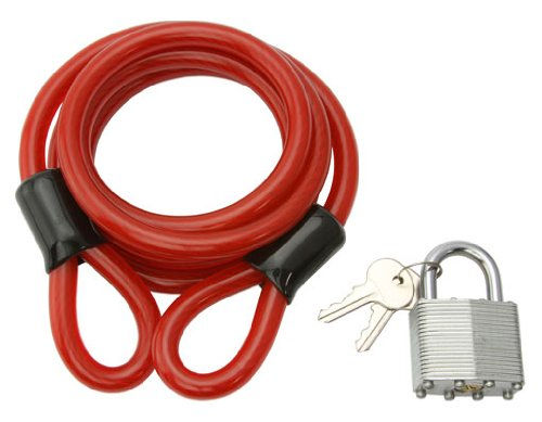 Cable Lock 72'' x 10mm Red. Bike lock, bicycle lock for lowrider , beach cruiser, chopper, limo, stretch bike, bmx, track, fixie, mountain bikes by Lowrider