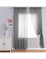 Sheer Curtains with Tiebacks, Rod Pocket Semi Sheer Privacy Window Treatment Voile Panels Drapes Curtains for Bedroom Living Room Party Backdrop, 2 Panels
