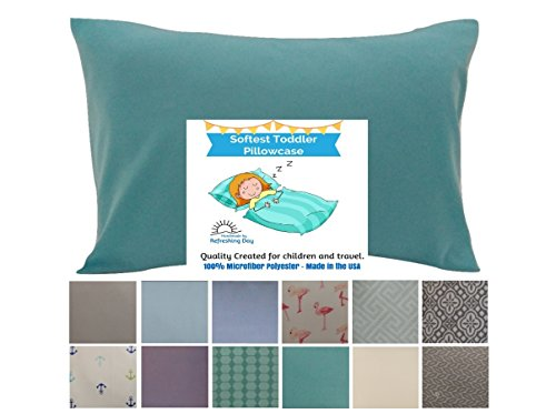 TODDLER PILLOW CASE – Aqua Color. 13×18 up to 14×19. CUDDLY, SUPER SOFT microfiber fabric. Easy to wash  no ironing. Handmade in USA.100% SATISFACTIO…